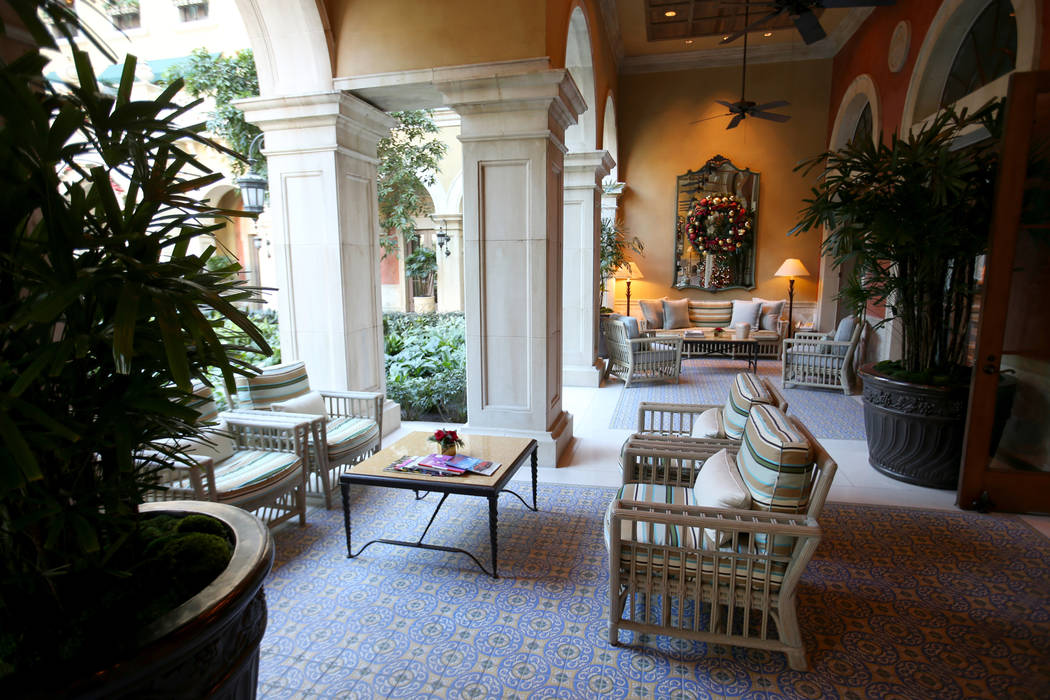 The loggia adjacent to the atrium at The Mansion at MGM on the Strip in Las Vegas Tuesday, Dec. ...