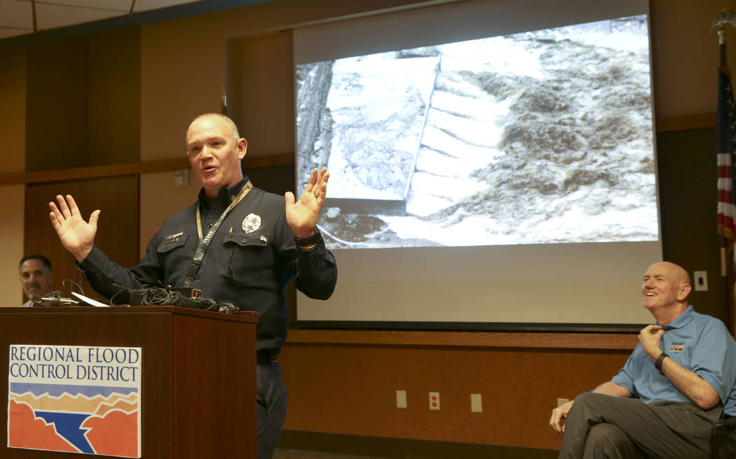 Clark County Fire Department Chief Greg Cassell during a news conference at the Clark County Go ...