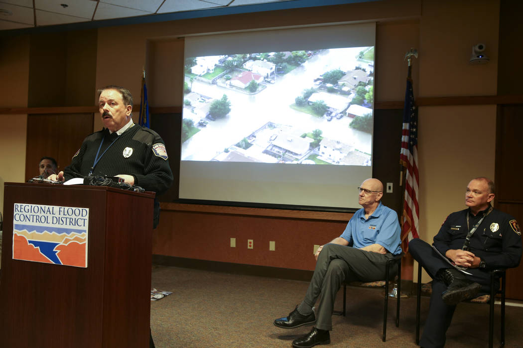 Las Vegas Fire and Rescue Public Education and Information Officer Tim Szymanski during a news ...