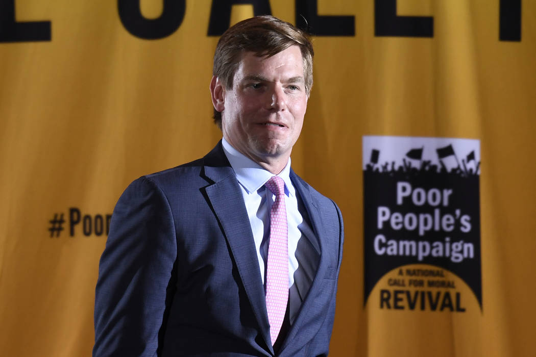 Democratic presidential candidate Rep. Eric Swalwell, D-Calif., speaks at the Poor People's Mor ...