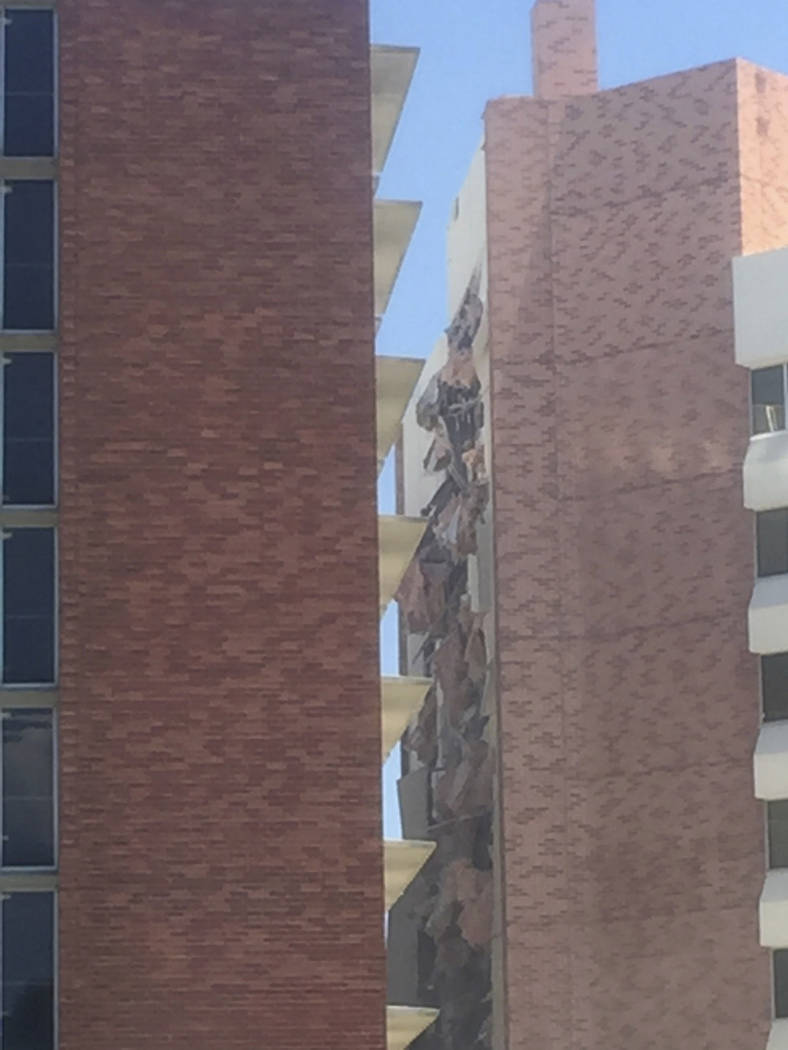 The aftermath of an explosion inside a residence hall at the University of Nevada, Reno in Reno ...