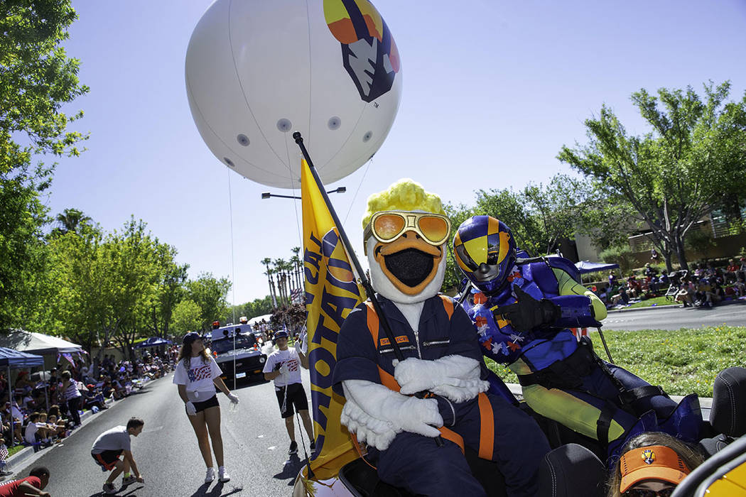 The parade featured Las Vegas Aviators mascots. (Summerlin)