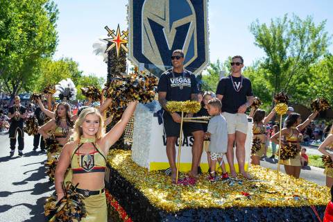 The return of the popular Vegas Golden Knights-themed float featured Knights forwards, Jonathan ...