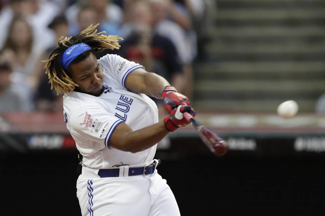 Vladimir Guerrero Jr., of the Toronto Blue Jays, hits during the Major League Baseball Home Run ...