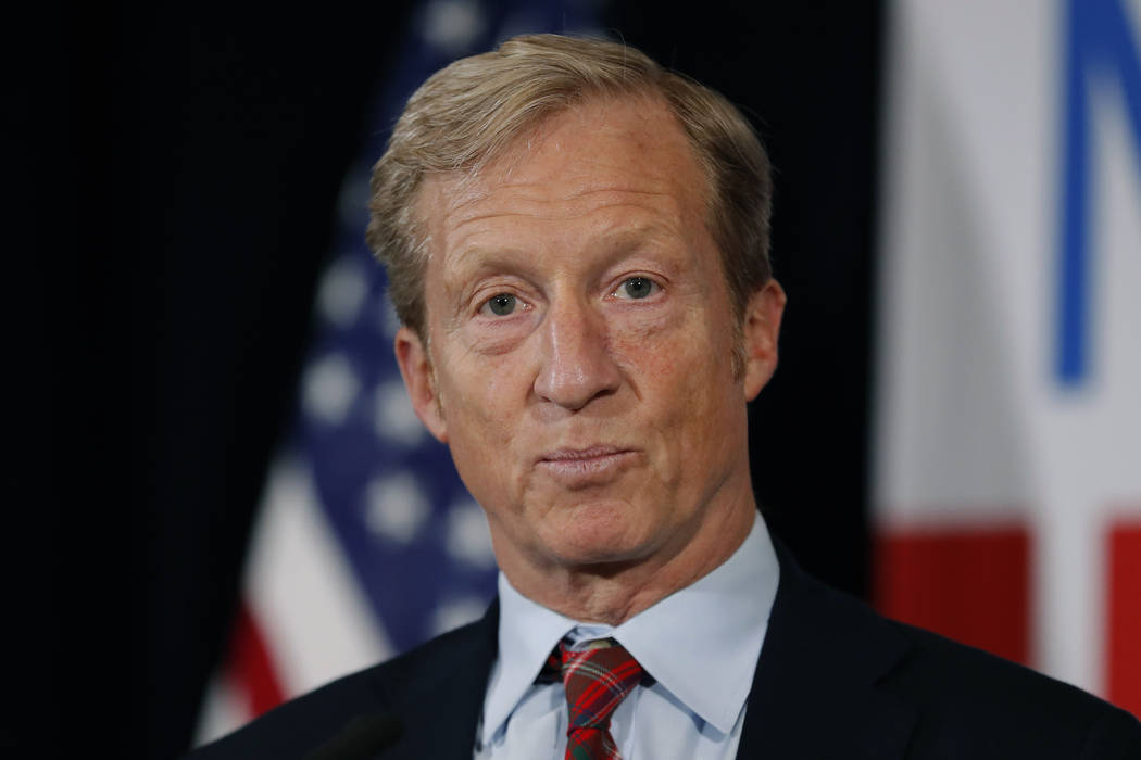 In a Jan. 9, 2019, file photo, billionaire investor and Democratic activist Tom Steyer speaks d ...