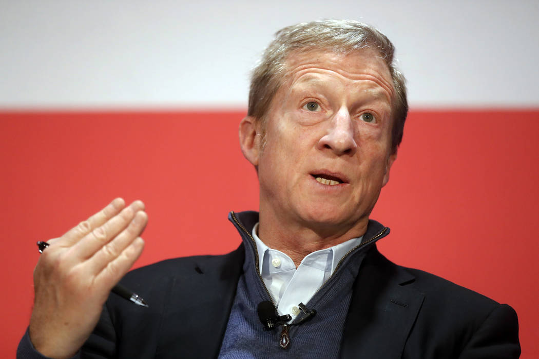 "FILE- In this March 16, 2018, file photo political activist Tom Steyer speaks during a ""Ne ..."