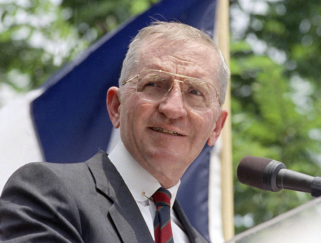 Presidential hopeful H. Ross Perot speaks at a rally in Austin, Texas, in this 1992 file photo. ...