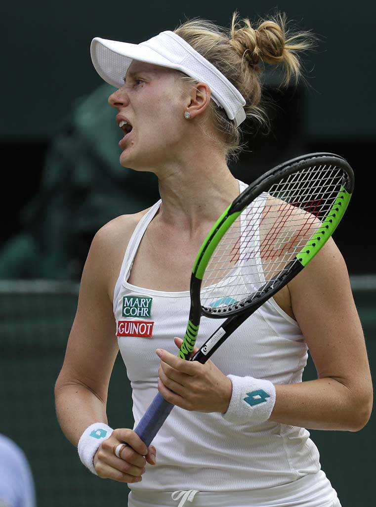 United States' Alison Riske reacts after losing a point during a women's quarterfinal match aga ...