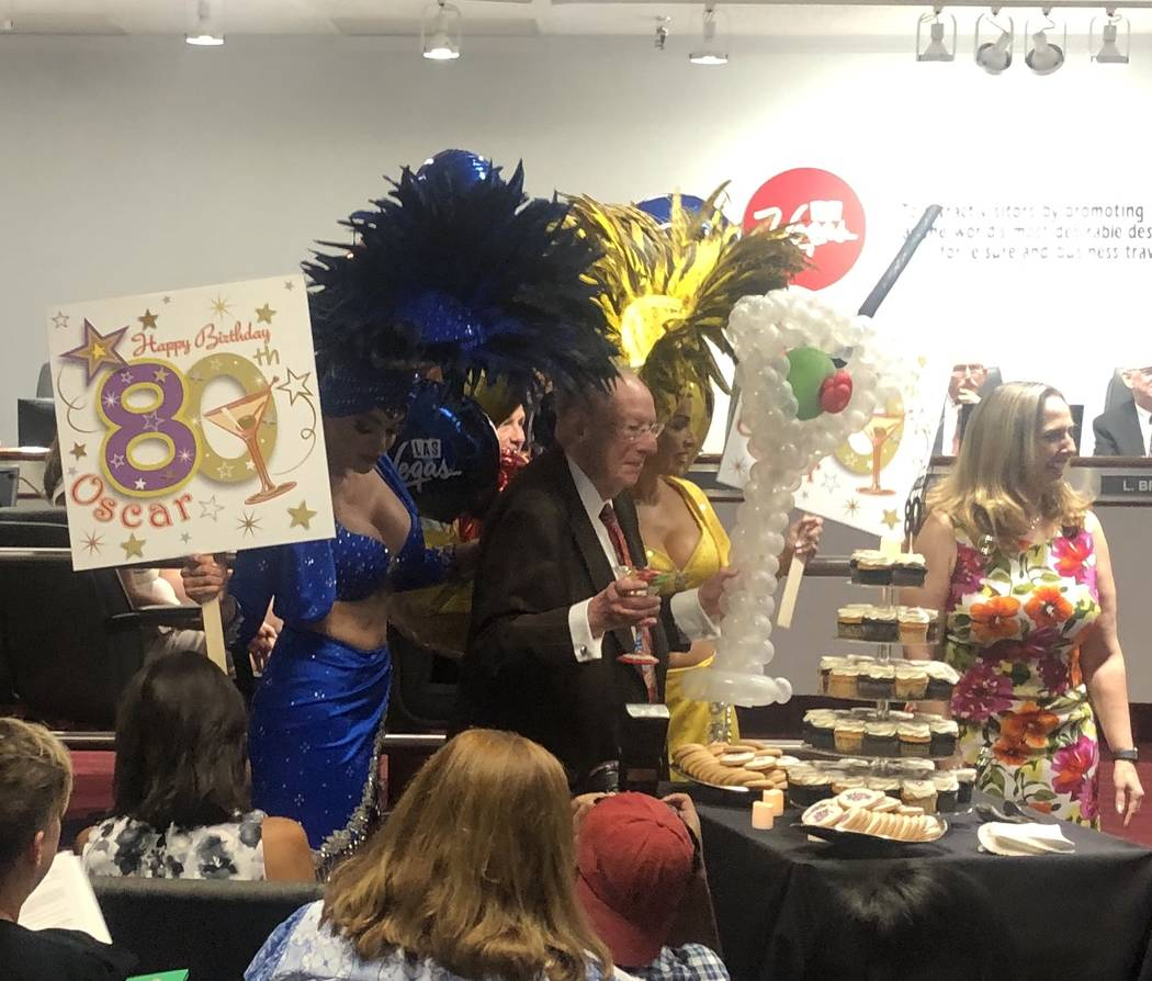 Former Las Vegas Mayor Oscar Goodman is surprised in a celebration of his 80th birthday at the ...
