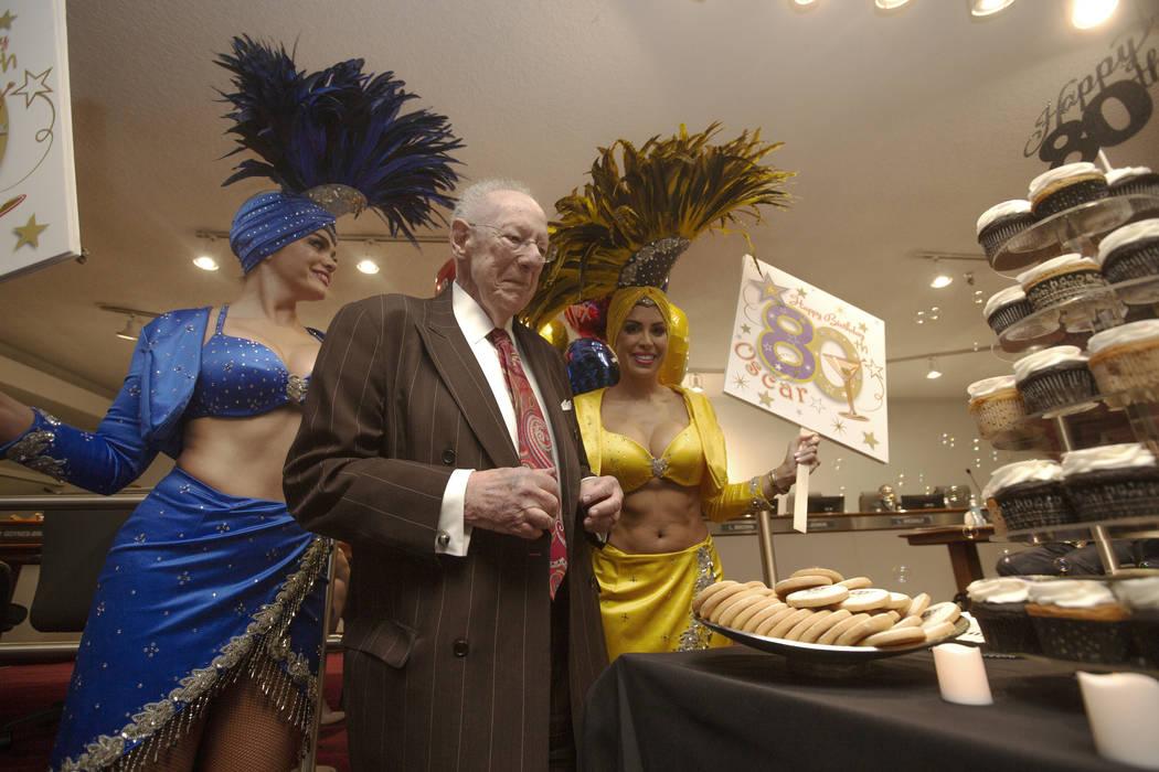 Former Las Vegas Mayor Oscar Goodman celebrates his 80th birthday with showgirls Porsha Revesz, ...