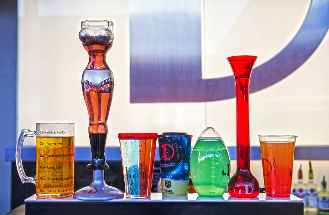 Novelty cups ranging from 24-60 ounces at D Bar on Friday, July 5, 2019, at the Fremont Street ...