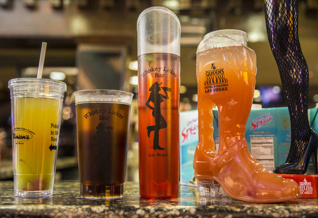 Novelty drinks at Whiskey Licker Bar on Friday, July 5, 2019, at the Fremont Street Experience, ...
