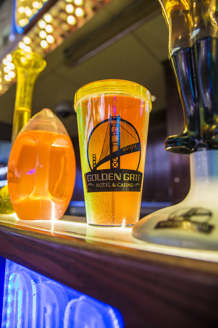 Novelty drinks at OneBar on Friday, July 5, 2019, at the Fremont Street Experience, in Las Vega ...