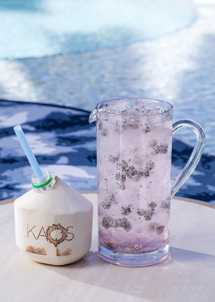 Coconut water cocktails and rose wine. (Jeff Green)