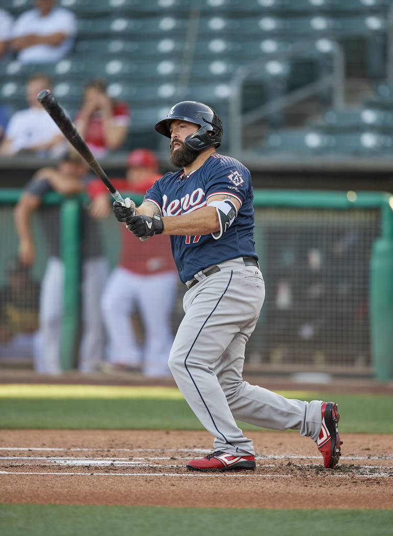 Cody Decker (17) of the Reno Aces bats against the Salt Lake Bees at Smith's Ballpark on June 2 ...