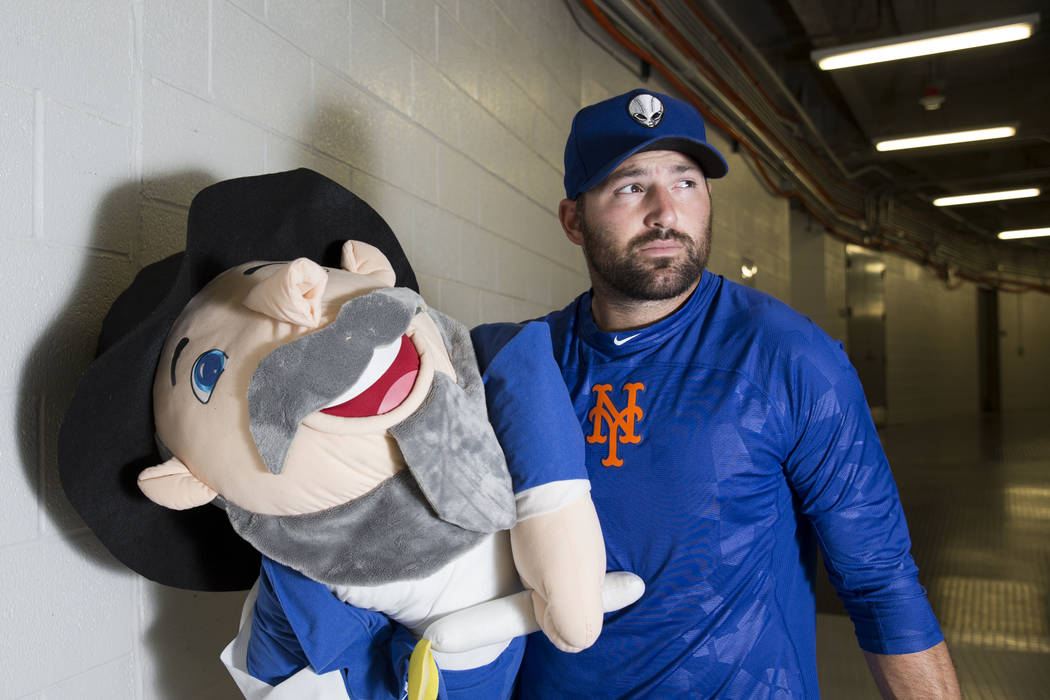 Cody Decker, player for the Las Vegas 51s, with his Mensch on the Bench at Cashman Field in Las ...