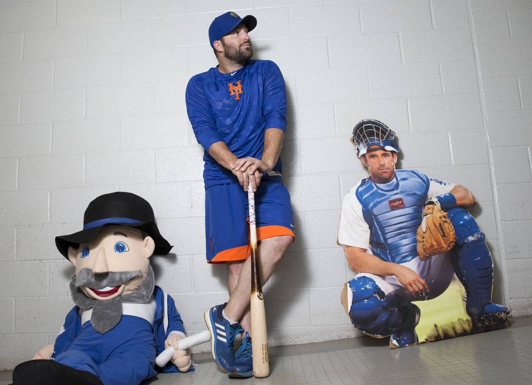Cody Decker, player for the Las Vegas 51s, with his Brad Ausmus cardboard cutout and Mensch on ...