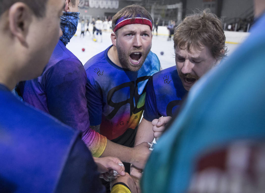 Ricky Serret, middle, fires up team Reign Bros during a two-day, five-division dodgeball tourna ...