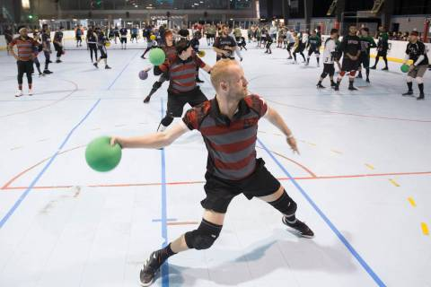 Josh Kadish of team Gridlock attacks during a two-day, five-division dodgeball tournament on Sa ...