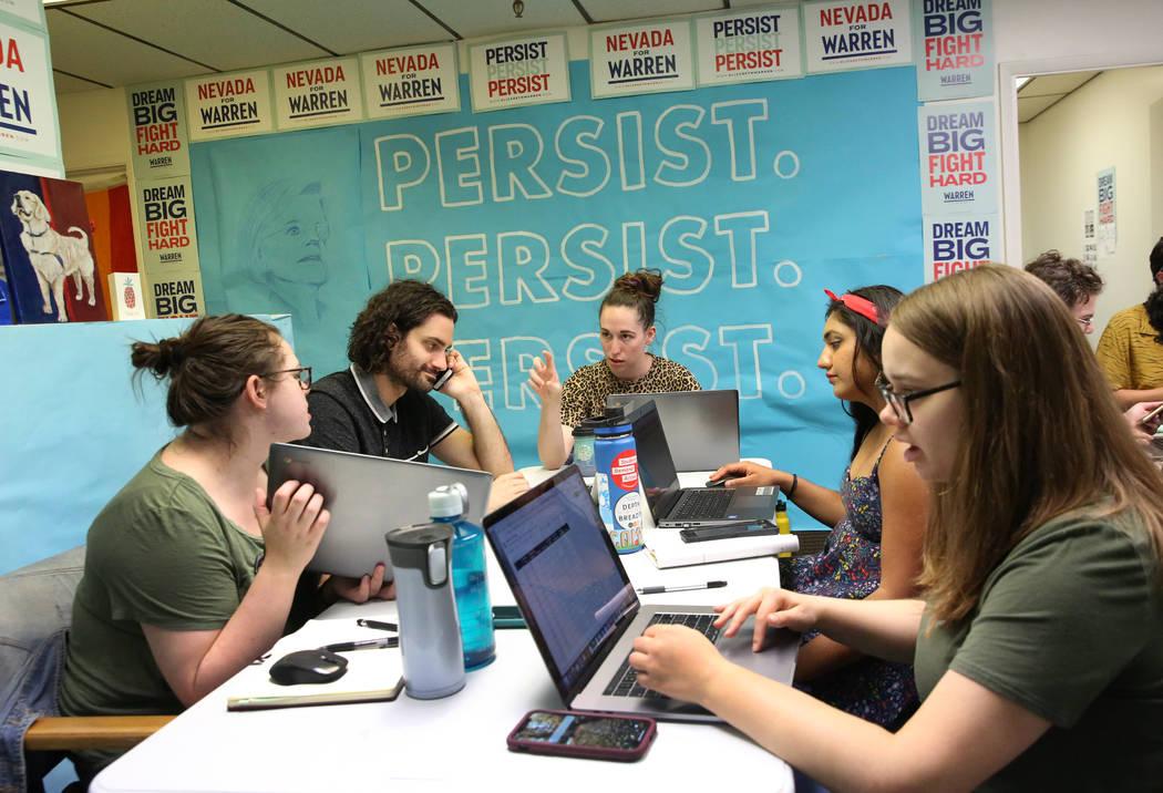 Democratic presidential candidate Sen. Elizabeth Warren's, D-Mass, Nevada campaign staff, inclu ...