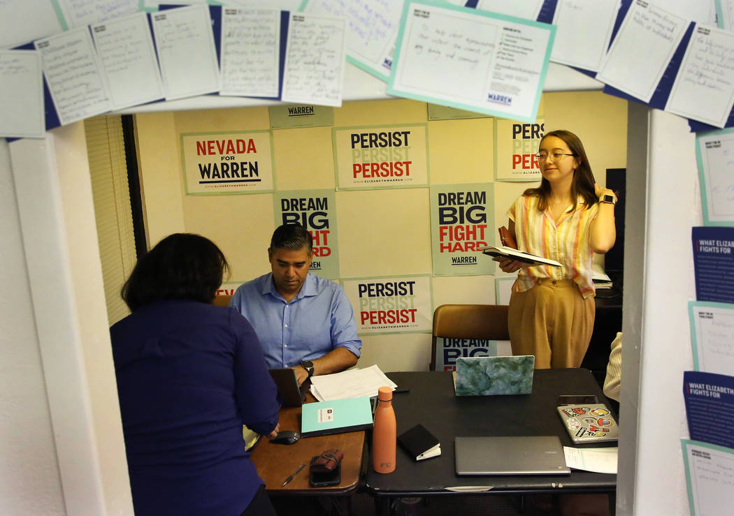 Democratic presidential candidate Sen. Elizabeth Warren's, D-Mass, Nevada campaign staff Blanca ...