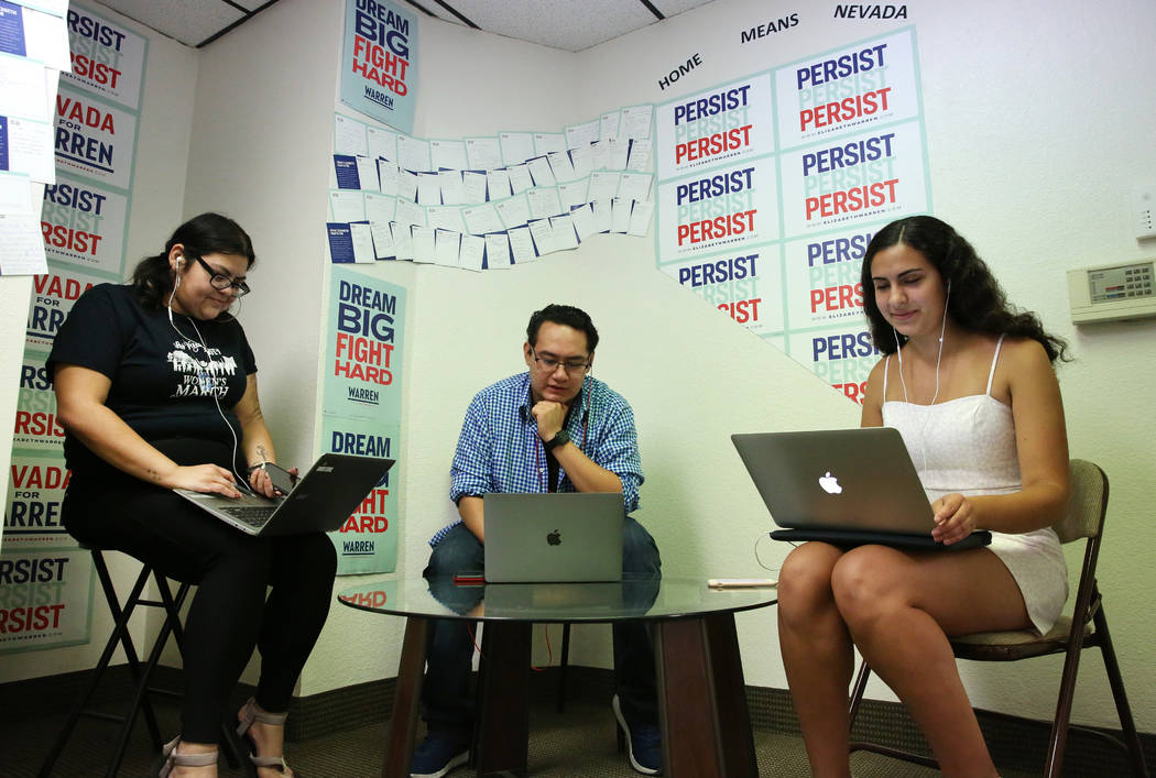 Democratic presidential candidate Sen. Elizabeth Warren's, D-Mass, Nevada campaign organizer in ...
