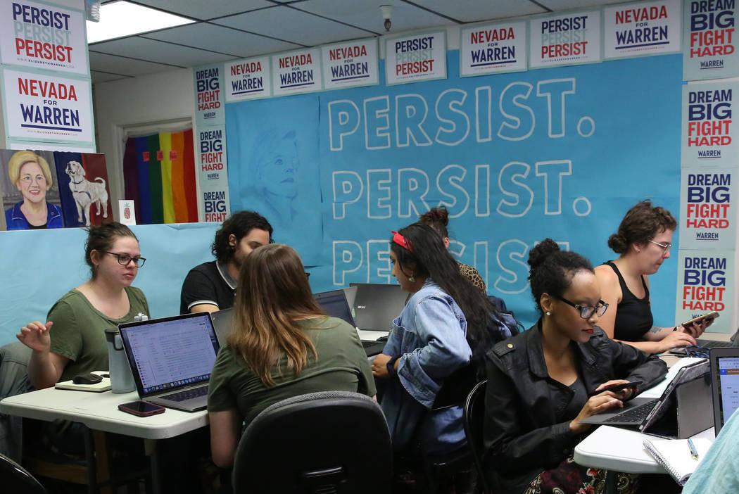 Democratic presidential candidate Sen. Elizabeth Warren's, D-Mass, Nevada campaign staff make p ...