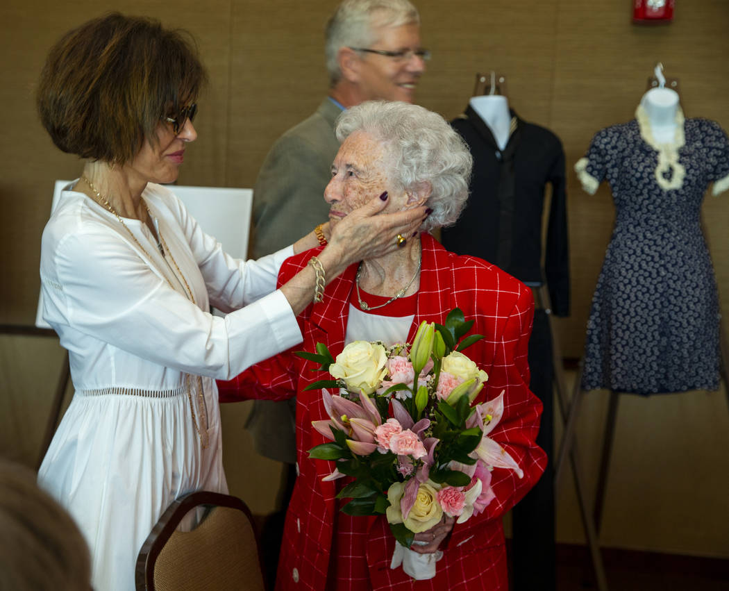 Madeleine Andress congratulates her mother-in-law Donna Andress during a renewal of vows ceremo ...