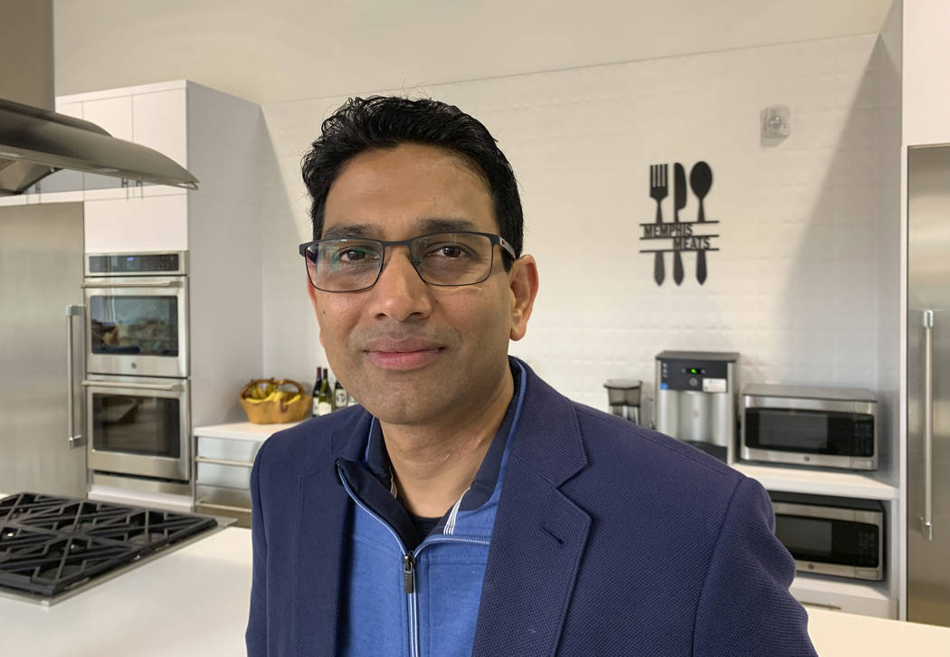 In this photo taken April 11, 2019, is Memphis Meats CEO Uma Valeti poses for a photo at his co ...