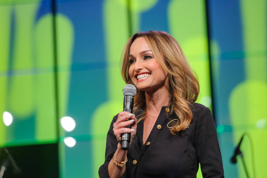 Star chef Giada De Laurentiis is shown onstage at the Vegas Heroes Dinner at Caesars Palace on ...