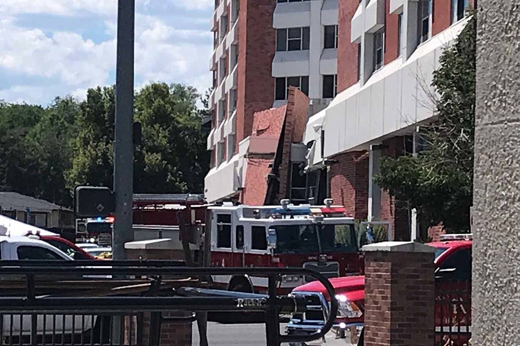 Argenta Hall on the University of Nevada, Reno campus shows damage after an explosion on Friday ...