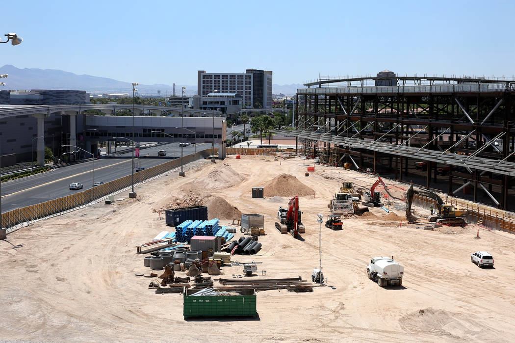 The Las Vegas Convention Center expansion, right, photographed on Tuesday, July 9, 2019, in Las ...