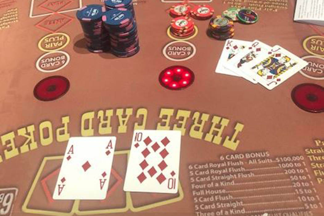 A card player hit for $1,469,237 at Three Card Poker on Monday, July 8, 2019, at Caesars Palace ...