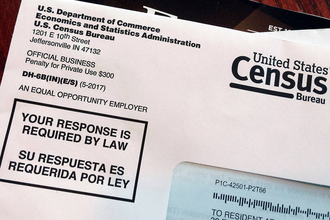 This March 23, 2018, file photo shows an envelope containing a 2018 census letter mailed to a U ...