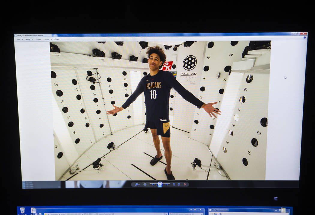 A photo of New Orleans Pelicans' Jaxson Hayes (10) posing in the Pixelgun Studio at the Vegas S ...