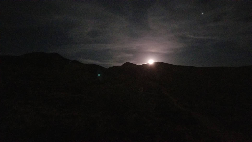 The full moon after breaking the ridge line. (Natalie Burt)