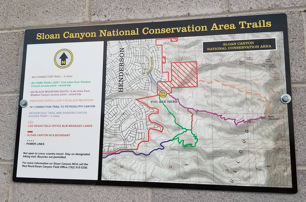 Routes leading to Park Peak and Black Mountain are shown on map posted a short distance from th ...