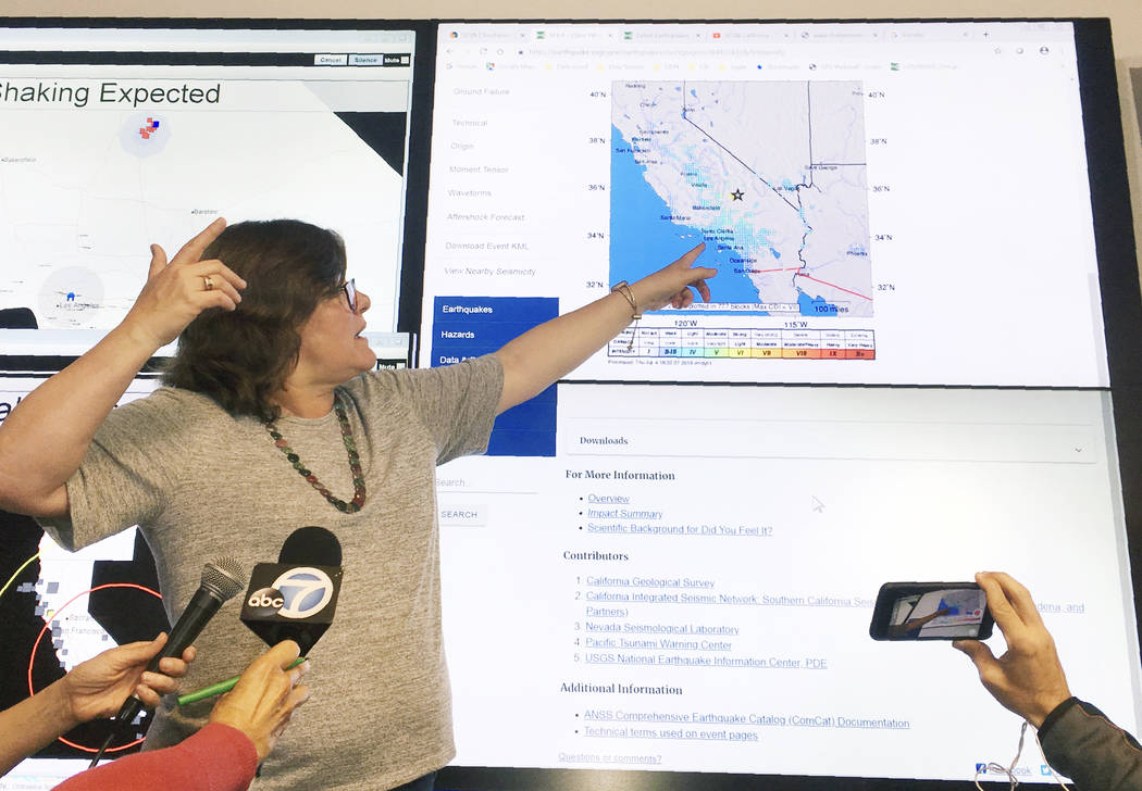 Seismologist Lucy Jones talks during a news conference at the Caltech Seismological Laboratory ...