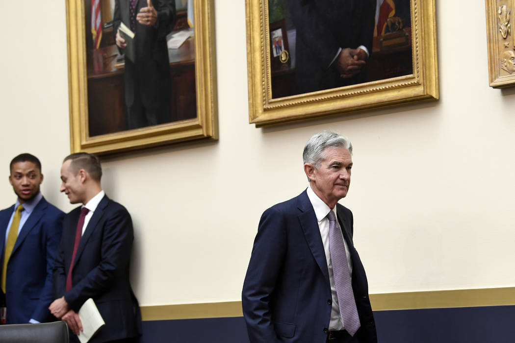 Federal Reserve Chairman Jerome Powell arrives to testify before the House Financial Services C ...