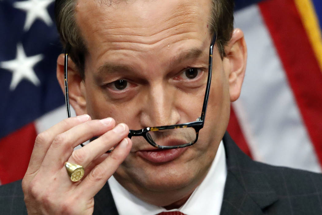 Labor Secretary Alex Acosta speaks during a news conference at the Department of Labor, Wednesd ...