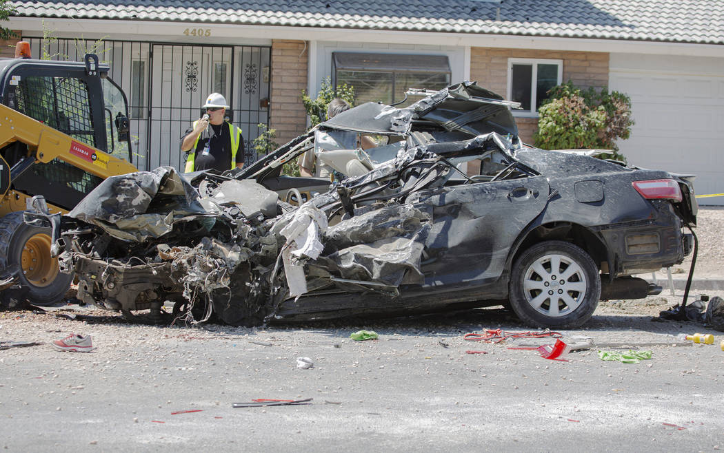 The scene of a fatal crash on Tuesday, July 9, 2019 in Las Vegas.(Michael Blackshire/Las Vegas ...