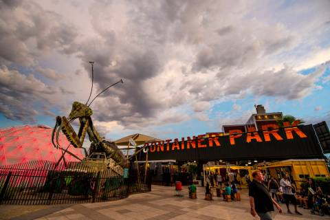 The fire-shooting preying mantis sits out front of Container Park in downtown Las Vegas. (Joshu ...
