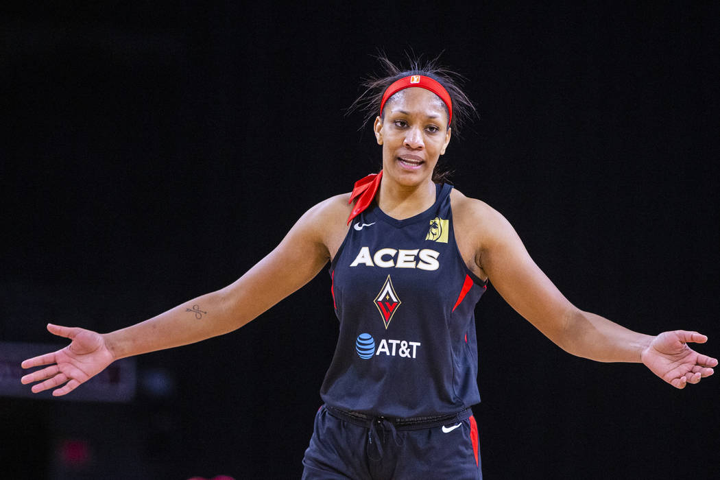 Las Vegas Aces center A'ja Wilson (22) is pleased with her performance over the Indiana Fever d ...