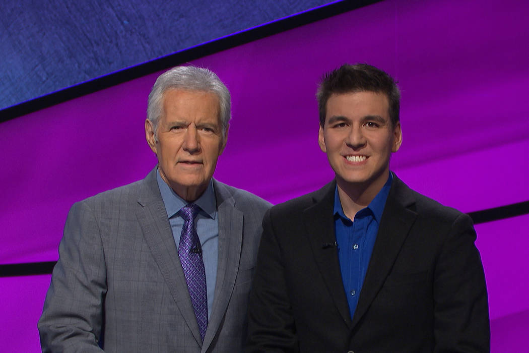 "James Holzhauer, right, will get reacquainted with host Alex Trebek during the ""Jeopardy!"" Tour ..."