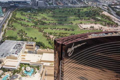 Aerial photo of Wynn Las Vegas and construction of the new golf course on Wed., August 22, 2018 ...
