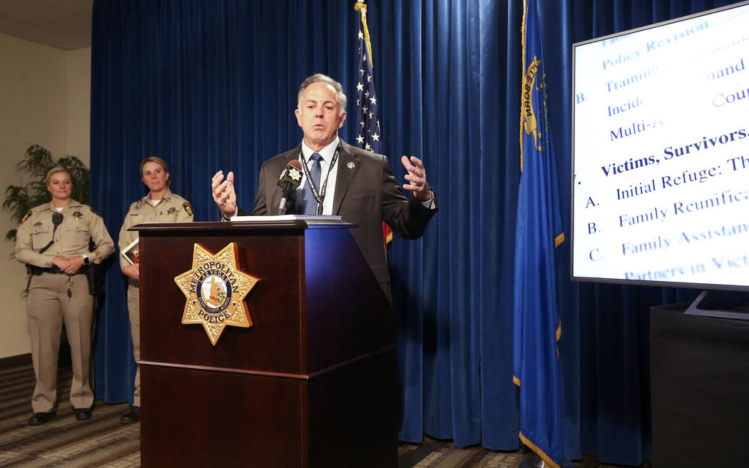Clark County Sheriff Joe Lombardo announces the release of the Oct. 1, 2017, shooting After-Act ...