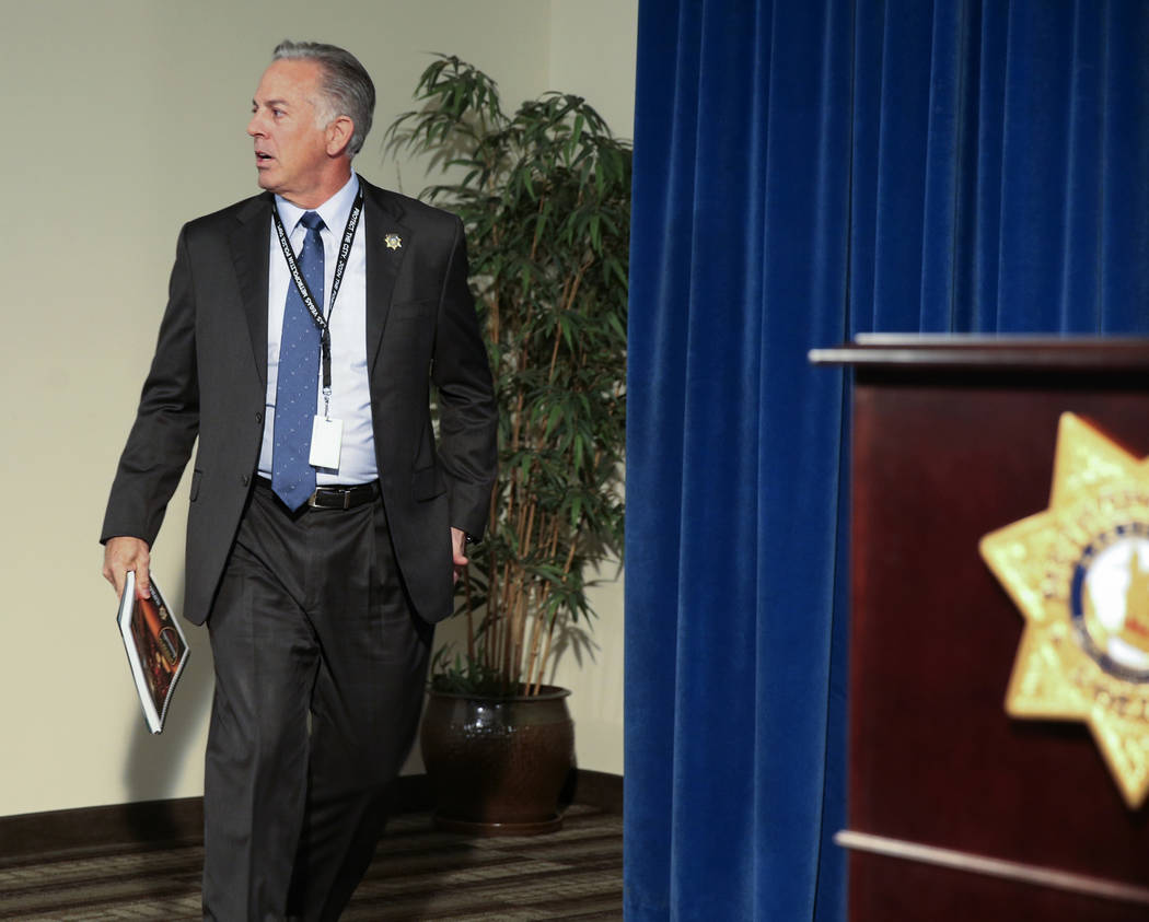Clark County Sheriff Joe Lombardo prepares to announce the release of the Oct. 1, 2017, shootin ...