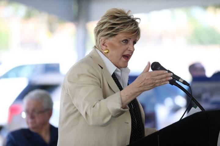 Las Vegas Mayor Carolyn Goodman speaks during a groundbreaking ceremony for the new Las Vegas M ...