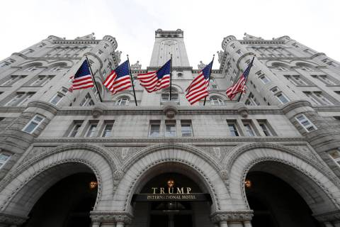 The arched facade of The Trump International Hotel at 1100 Pennsylvania Avenue NW in Washington ...
