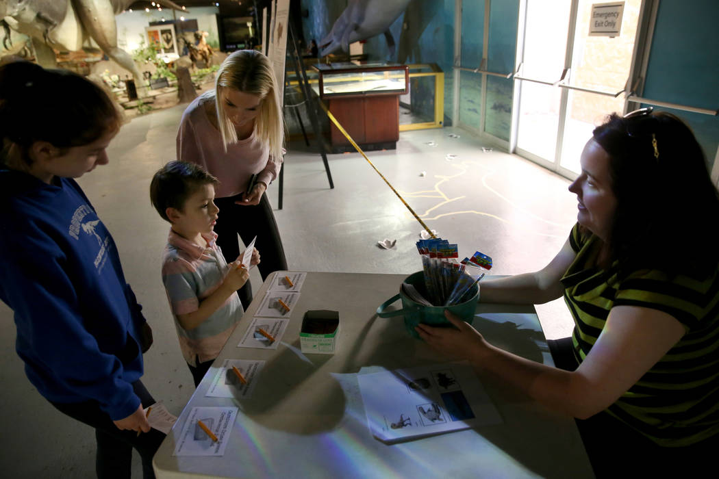Nikolai Friedrich, 5, his sister Anna Bella Montrone, 12, and mother Stacey Butler, all of Las ...